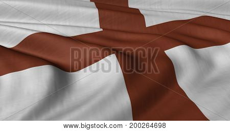 3D illustration of English Saint George flag fluttering in light breeze