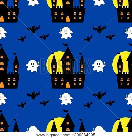 Halloween castle seamless pattern cartoon, black, haunt, simple, anger, road, nightmare, vintage, fabric
