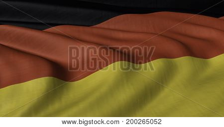 3D illustration of German flag fluttering in light breeze