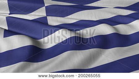 3D illustration of Greek flag fluttering in light breeze