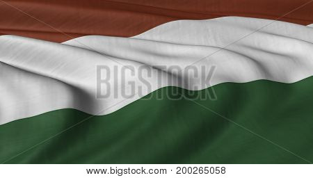 3D illustration of Hungarian flag fluttering in light breeze