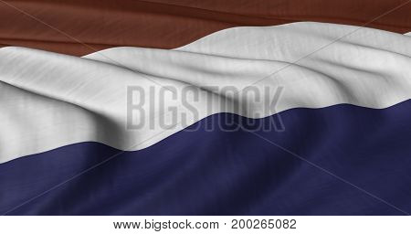 3D illustration of the Netherlands flag fluttering in light breeze