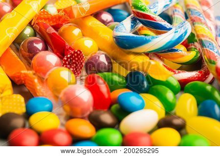 Different Candies Background With Selective Focus
