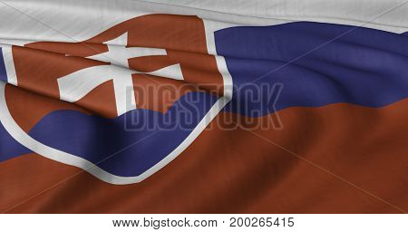 3D illustration of Slovakian flag fluttering in light wind.