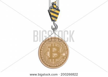 Bitcoin lifting on crane hook 3D rendering