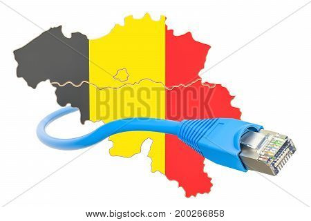 Internet connection in Belgium concept. 3D rendering isolated on white background