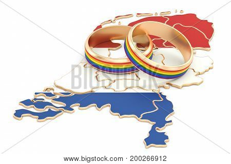Netherlands map with LGBT rainbow rings 3D rendering