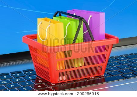 Online internet shopping concept on laptop keyboard 3D rendering