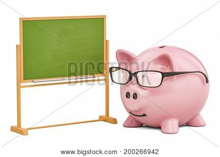 Piggy bank school blackboard 3D rendering isolated on white background