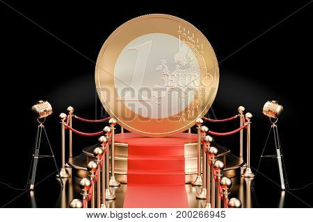 Podium with Euro coin 3D rendering  isolated on black background