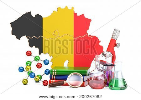 Scientific research in Belgium concept 3D rendering isolated on white background