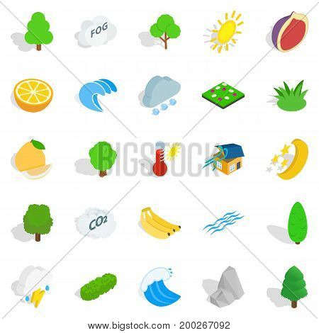 Earth icons set. Isometric set of 25 earth vector icons for web isolated on white background