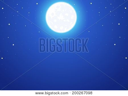 Night sky with a full moon and stars, vector art illustration.