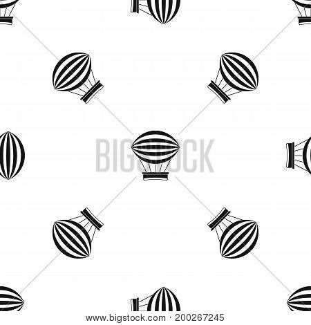 Striped retro hot air balloon pattern repeat seamless in black color for any design. Vector geometric illustration