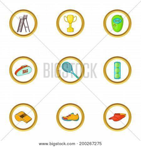 Tennis tournament icons set. Cartoon illustration of 9 tennis tournament vector icons for web design