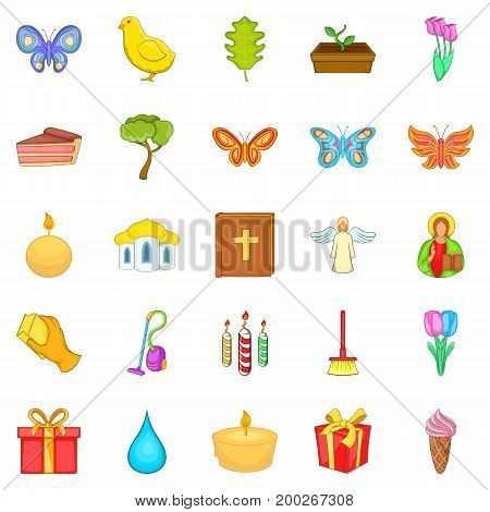 Easter icons set. Cartoon set of 25 easter vector icons for web isolated on white background
