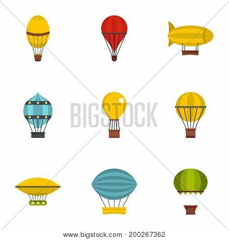 Types of airship icon set. Flat style set of 9 types of airship vector icons for web isolated on white background