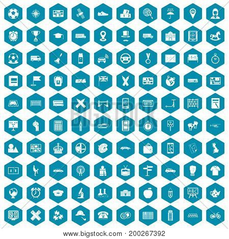 100 bus icons set in sapphirine hexagon isolated vector illustration