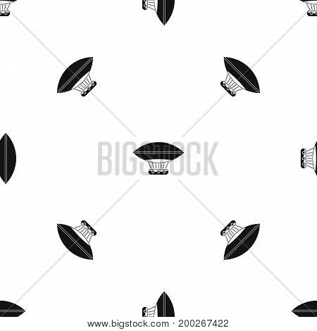 Hot air balloon with gondola basket pattern repeat seamless in black color for any design. Vector geometric illustration