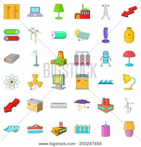 Electricity battery icons set. Cartoon style of 36 electricity battery vector icons for web isolated on white background