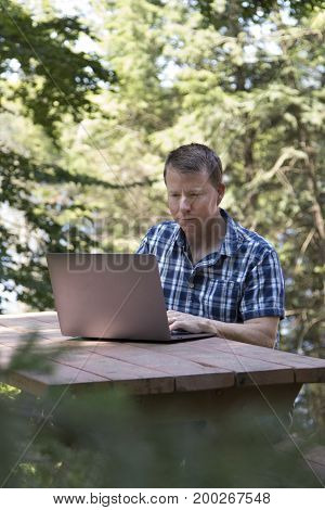 Man using laptop computer in wooded area