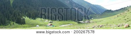 Panorama of a village in the mountains landscape, nature