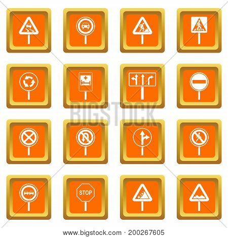 Different road signs icons set in orange color isolated vector illustration for web and any design