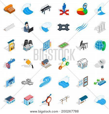 Electricity market icons set. Isometric style of 36 electricity market vector icons for web isolated on white background