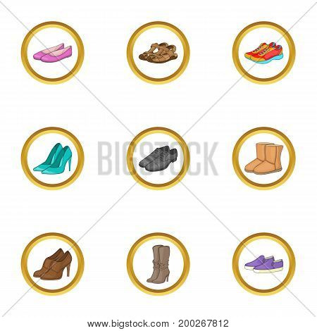 Footwear icons set. Cartoon illustration of 9 footwear vector icons for web design