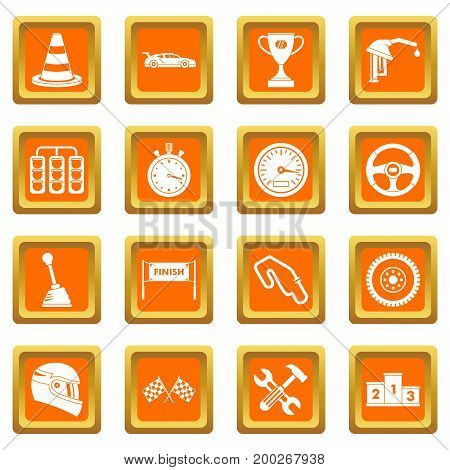 Racing speed icons set in orange color isolated vector illustration for web and any design
