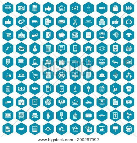 100 business icons set in sapphirine hexagon isolated vector illustration