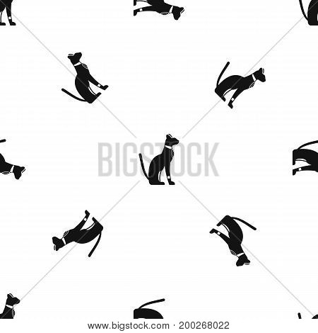 Egyptian cat pattern repeat seamless in black color for any design. Vector geometric illustration