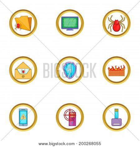 Cyber security icons set. Cartoon illustration of 9 cyber security vector icons for web design