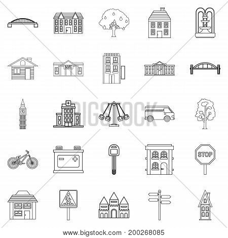 Eco city icons set. Outline set of 25 eco city vector icons for web isolated on white background