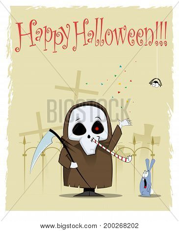 Halloween cartoon illustration with fun friendly spooky. Can be use as greeting card. Vector