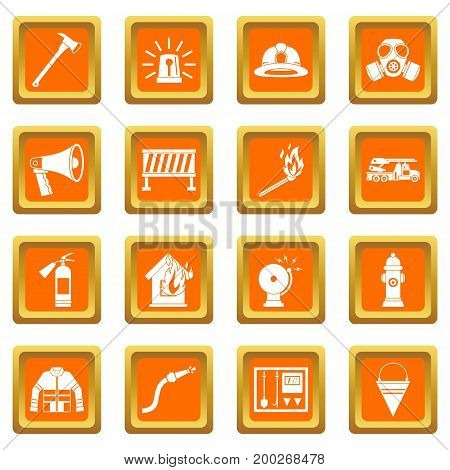 Fireman tools icons set in orange color isolated vector illustration for web and any design