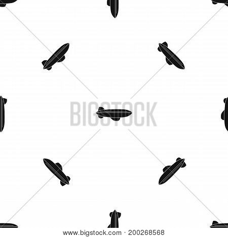 Blimp aircraft flying pattern repeat seamless in black color for any design. Vector geometric illustration