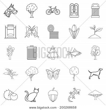 Fresh air icons set. Outline set of 25 fresh air vector icons for web isolated on white background