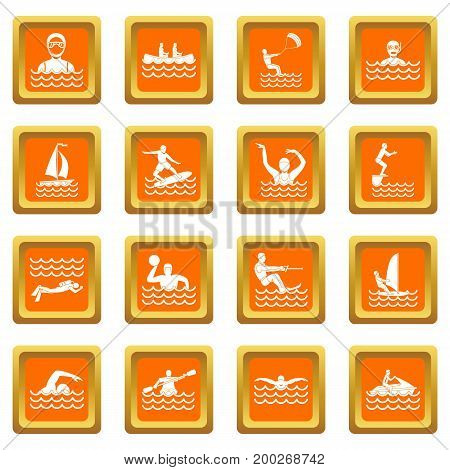 Water sport icons set in orange color isolated vector illustration for web and any design