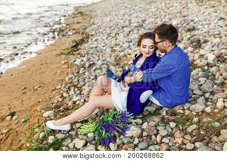 young beautiful couple enjoying a summer day together