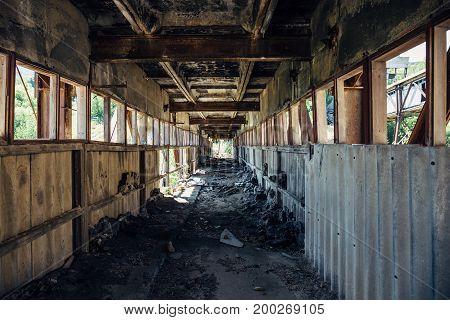 Abandoned industrial transportation line, broken Tunnel, perspective, abandoned background, toned
