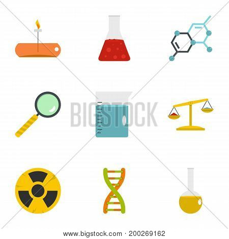 Chemistry science icon set. Flat style set of 9 chemistry science vector icons for web isolated on white background