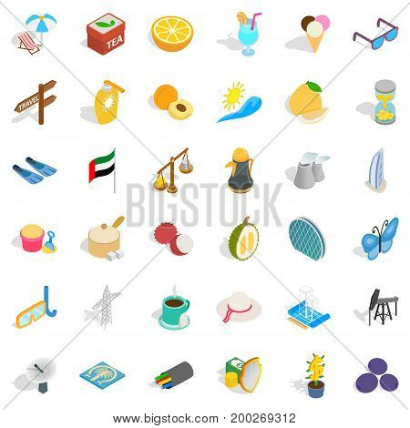 Travel in uae icons set. Isometric style of 36 travel in uae vector icons for web isolated on white background