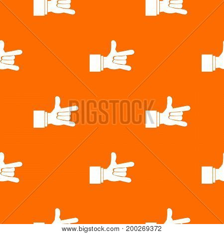 I Love You hand sign pattern repeat seamless in orange color for any design. Vector geometric illustration