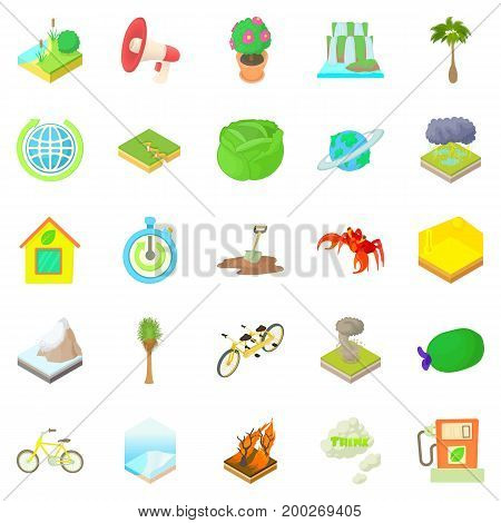 Eco icons set. Cartoon set of 25 eco vector icons for web isolated on white background