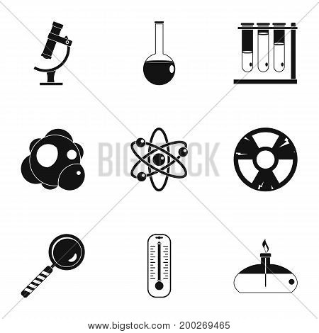 Chemistry icon set. Simple style set of 9 chemistry vector icons for web isolated on white background