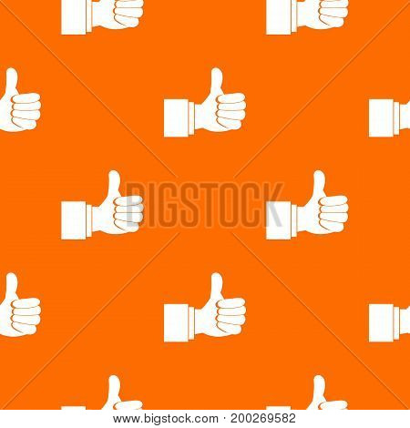 Thumb up gesture pattern repeat seamless in orange color for any design. Vector geometric illustration