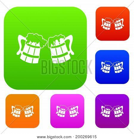 Wooden beer mugs set icon in different colors isolated vector illustration. Premium collection