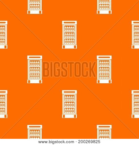 Fridge with refreshments drinks pattern repeat seamless in orange color for any design. Vector geometric illustration