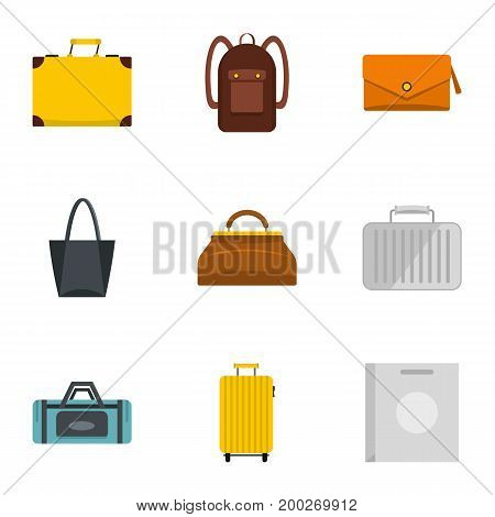 Bags for all occasions icon set. Flat style set of 9 bags for all occasions vector icons for web isolated on white background